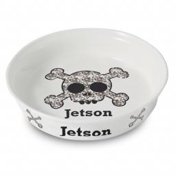 Personalised Bling Skull and Crossbones Pet Bowl
