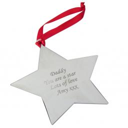 Personalised Christmas Tree Decoration Engraved Star