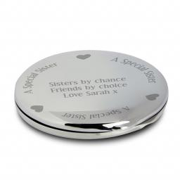 Personalised Sister Round Compact Mirror & Pouch Hearts Motif