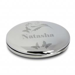 Personalised Butterfly Swirl Compact Mirror & Pouch
