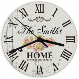 Personalised Shabby Chic Floral Glass Clock 'Home is where the heart is'
