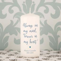 Personalised Always On My Mind Memorial Candle