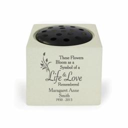 Personalised Life & Love Memorial Rose Bowl Vase