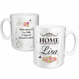 Personalised Shabby Chic Floral Mug 'Home is where the heart is'