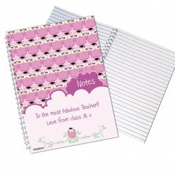 Personalised Miss Owl A5 Notebook Pink