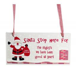 Personalised Rooftop Santa Stop Here Wooden Christmas Sign