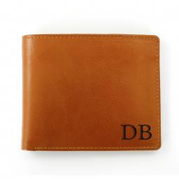 Personalised Initials Brown Leather Wallet