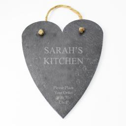 Personalised Engraved Large Slate Hanging Heart