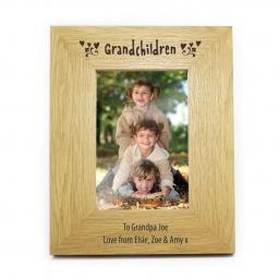 Personalised 6x4 Grandchildren Wooden Photo Frame