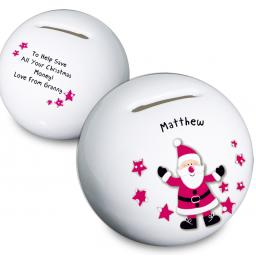 Personalised Christmas Spotty Santa Moneybox