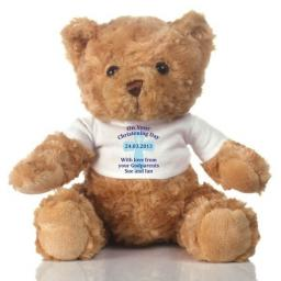 Personalised Teddy Bear Christening Blue