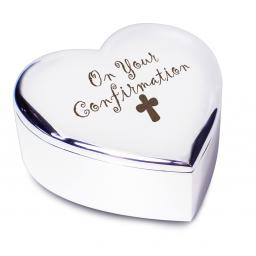 On Your Confirmation Heart Trinket Box Cross Motif
