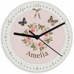 Personalised Delicate Butterfly Glass Clock