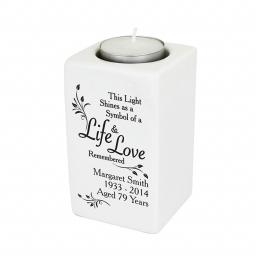 Personalised Life And Love Memorial Ceramic Tealight Candle Holder