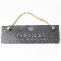 Personalised Engraved Heart Motif Slate Door Plaque