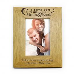 Personalised 6x4 I Love You the the Moon & Back Wooden Frame