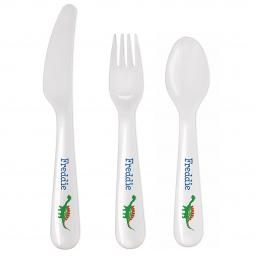 Personalised Dinosaur 3 Piece Plastic Cutlery Set