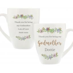 Personalised Bone China Floral Watercolour Godmother Latte Mug