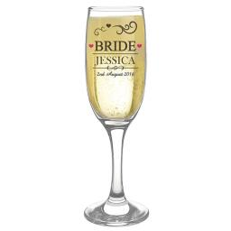 Personalised Bride Wedding Glass Flute Add Name and Date