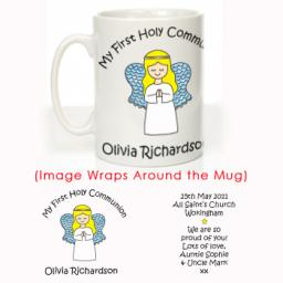 Personalised First Holy Communion Mug Angel Design