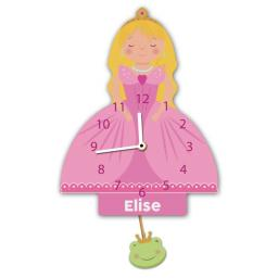 Girls Personalised Princess Quartz Wall Clock Pendulum