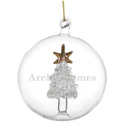 Personalised Christmas Glass Tree Bauble Add Name