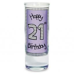 Lilac 21st Happy Birthday Shot Glass