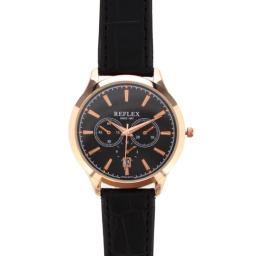 Personalised Men's Rose Gold Tone Watch Faux Leather Strap with Presentation Box