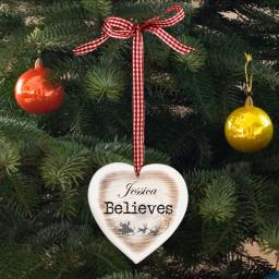 Personalised I Believe Wooden Heart Shaped Christmas Tree Decoration