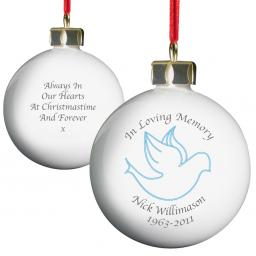 Personalised Christmas Tree Bauble In Loving Memory Blue Dove