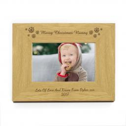Personalised 4x6 Snowflakes Wooden Photo Frame