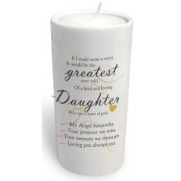 Personalised Round Memorial Greatest Story Ever Told Tealight Holder