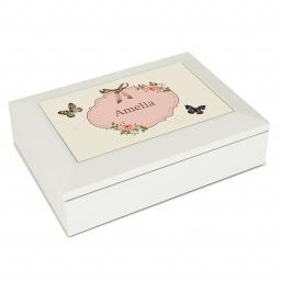 Personalised White Wooden Jewellery Box Delicate Butterfly