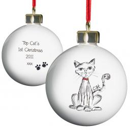 Personalised Christmas Tree Bauble Cat