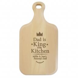 Personalised King of the Kitchen Large Paddle Chopping Board