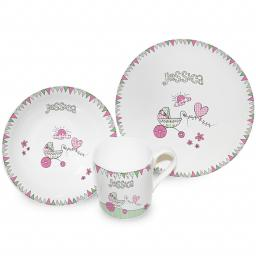 Personalised Girl's Pink Pram Bunting Breakfast Set