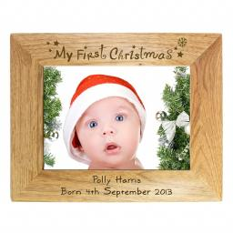 Personalised 5x7 My First Christmas Wooden Frame