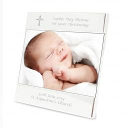 Personalised Cross Motif Silver Square 4x6 Photo Frame