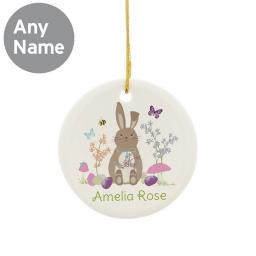 Personalised Easter Meadow Bunny Round Ceramic Decoration
