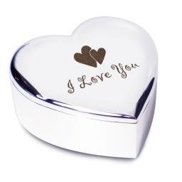 I Love You Heart Trinket Box Heart Motif