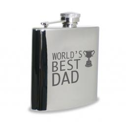 World's Best Dad 6 oz Stainless Steel Hipflask Trophy Motif