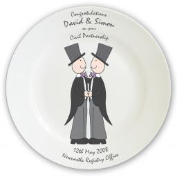 Personalised Cartoon Male Civil Partnership Plate