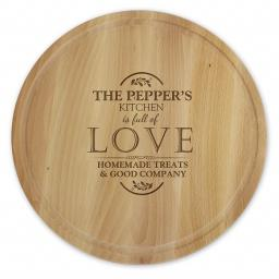 Personalised Full of Love Wooden Engraved Round Chopping Board