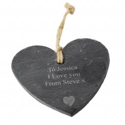 Personalised Engraved Heart Motif Slate Hanging Heart
