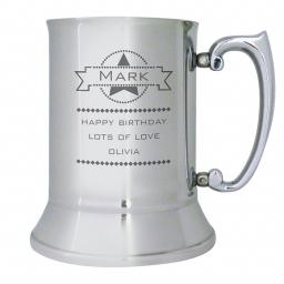 Personalised Diamond Design Stainless Steel Tankard