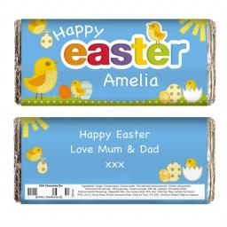 Personalised Easter Chick Milk Chocolate Bar 100g