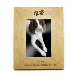 Personalised 6x4 Paw Prints Wooden Photo Frame