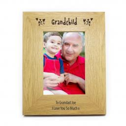 Personalised 6x4 Grandchild Wooden Photo Frame