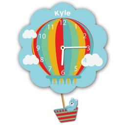 Boys Personalised Blue Hot Air Balloon Quartz Wall Clock Pendulum