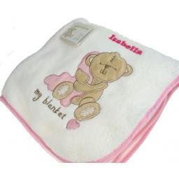 Personalised Baby Girl Teddy Blanket Pink Trim